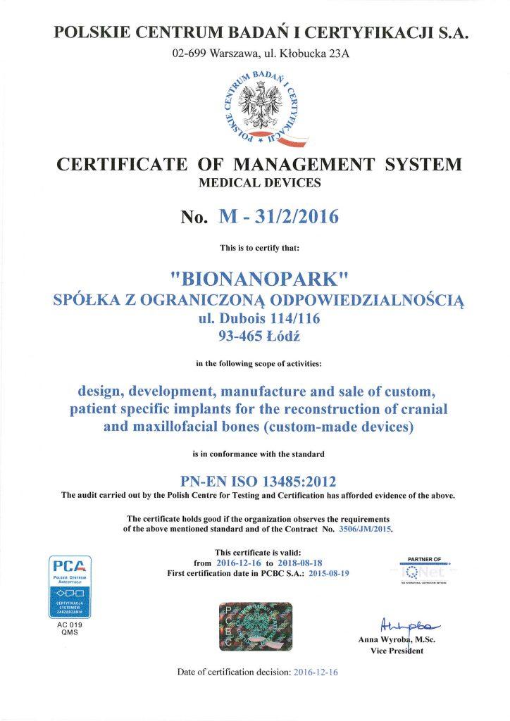 Certyfikat ISO 13485 ENG